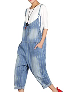 345abaa2e15 YESNO Womens PHX Casual Loose Denim Jumpsuits   Rompers Wide Leg Jean  Overall Bib Pants