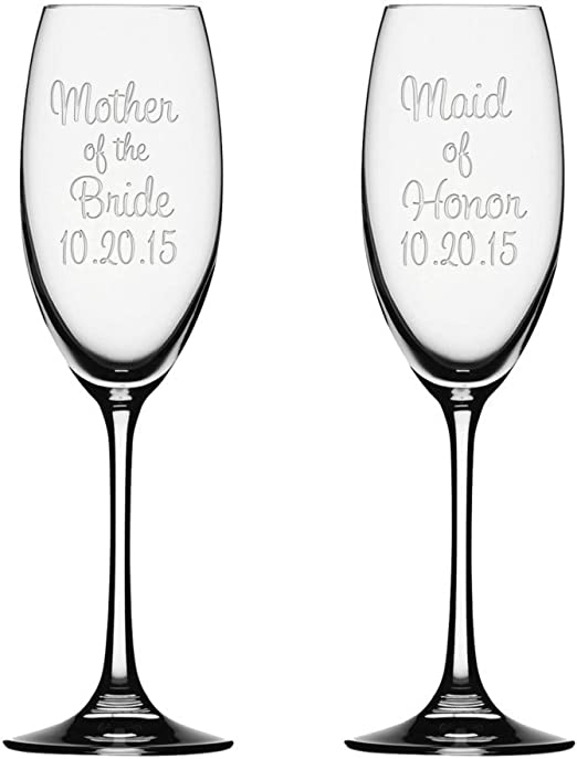 Personalised Engraved Bride Bridesmaid Mother Wedding Flute Gift Favour  55
