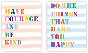 Nelly Story Inspirational Wall Art Prints Have Courage and Be Kind Motivational Rainbow Wall Painting Quotes Positive Sayings Wall Poster Home Wall Decor Office Wall Prints Canvas Print (Unframed)