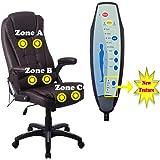 RayGar Luxus Faux Leder 6 Punkt Massage & Relax Sessel Bürostuhl schwenkbar um 360° Computer Studie - Braun