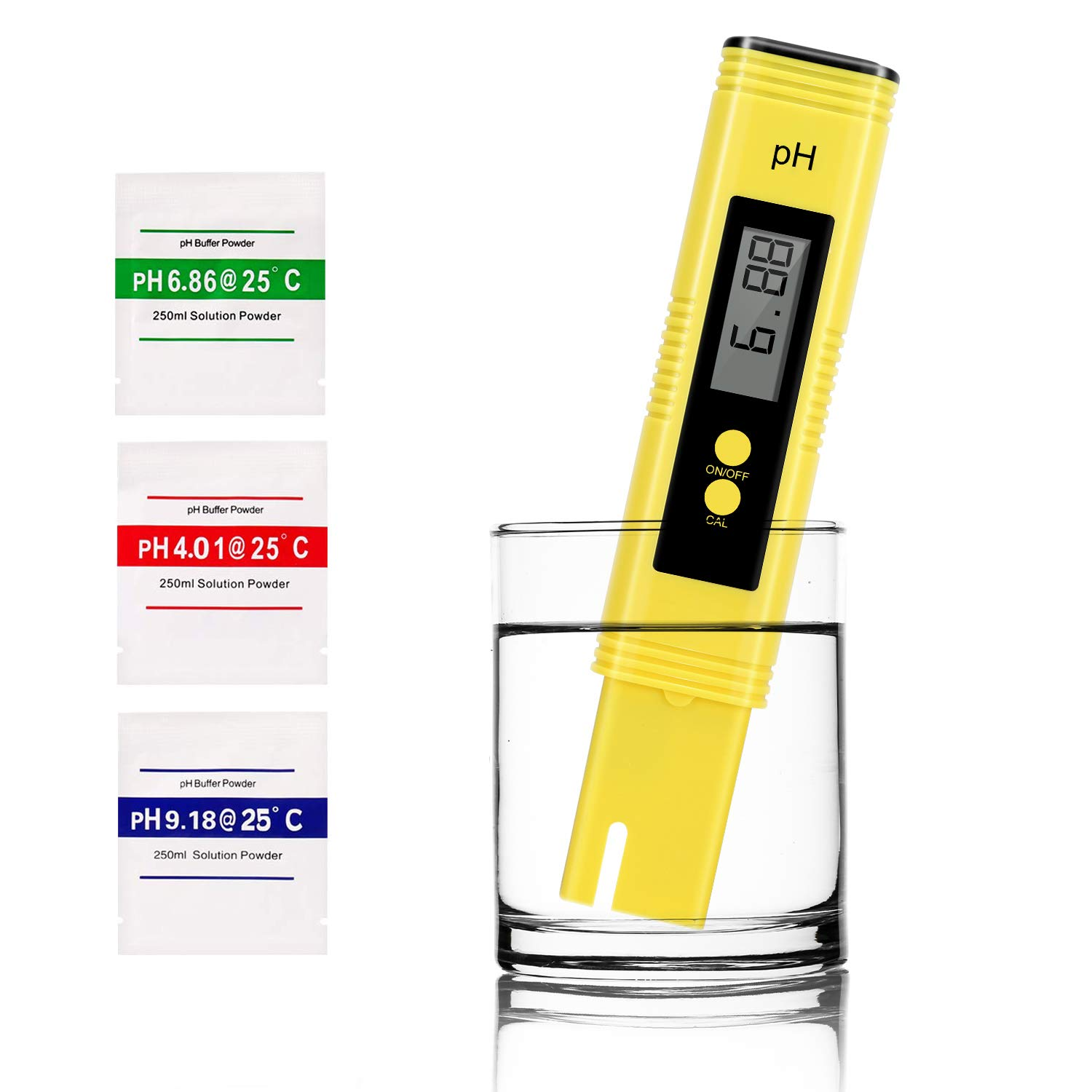 Digital PH Meter, UOTO Water Quality Tester 0.01 PH High Accuracy and 0-14 PH Measurement Range, Ideal Water Test Meter for Household Drinking Water, Aquariums, ATC - Yellow by UOTO