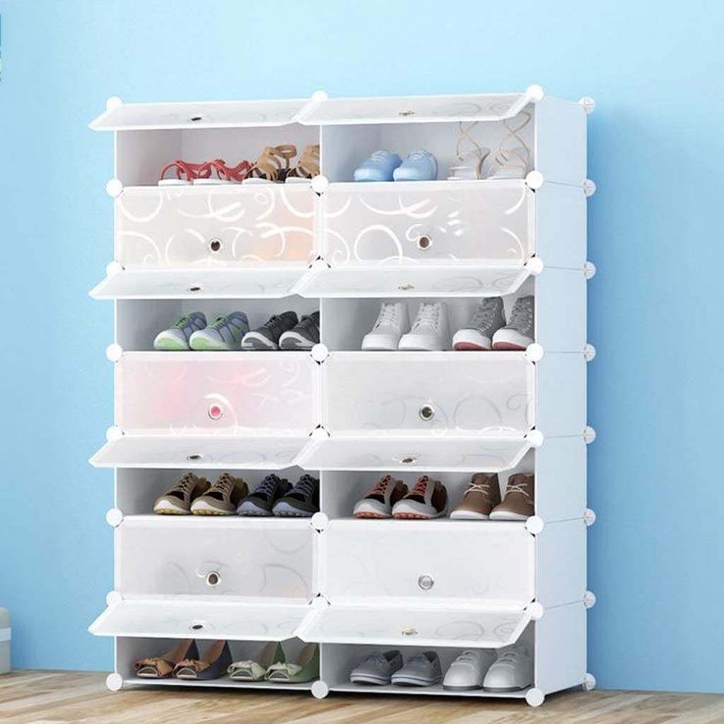 Zapatero,Shoes Rack, Caja de zapatos, plástico Bricolaje, apilable, a prueba de polvo, caja de almacenamiento, sólida y duradera, transparente y fácil de guardar, los zapatos blancos (Size : 6-tier) : Amazon.es: