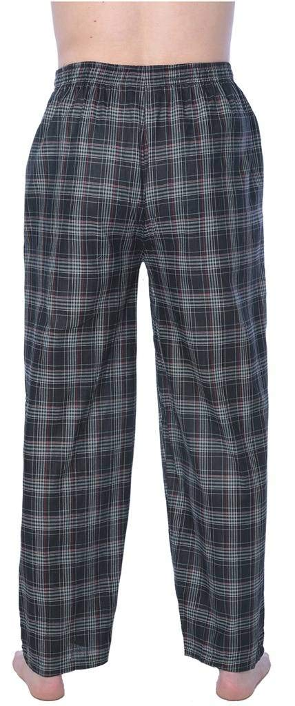 Beverly Rock Mens 100% Cotton Plaid Lounge PantsAvailable in Plus Size 22_Y17_JMP1 Black L by Beverly Rock (Image #1)