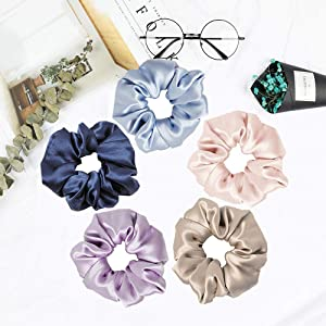 Mommesilk Silk Hair Scrunchies Set of 5 Pieces Ponytail Holder Elastic Bobbles Hair Ties Band for Women Hair Care 100 Silk Random Colors