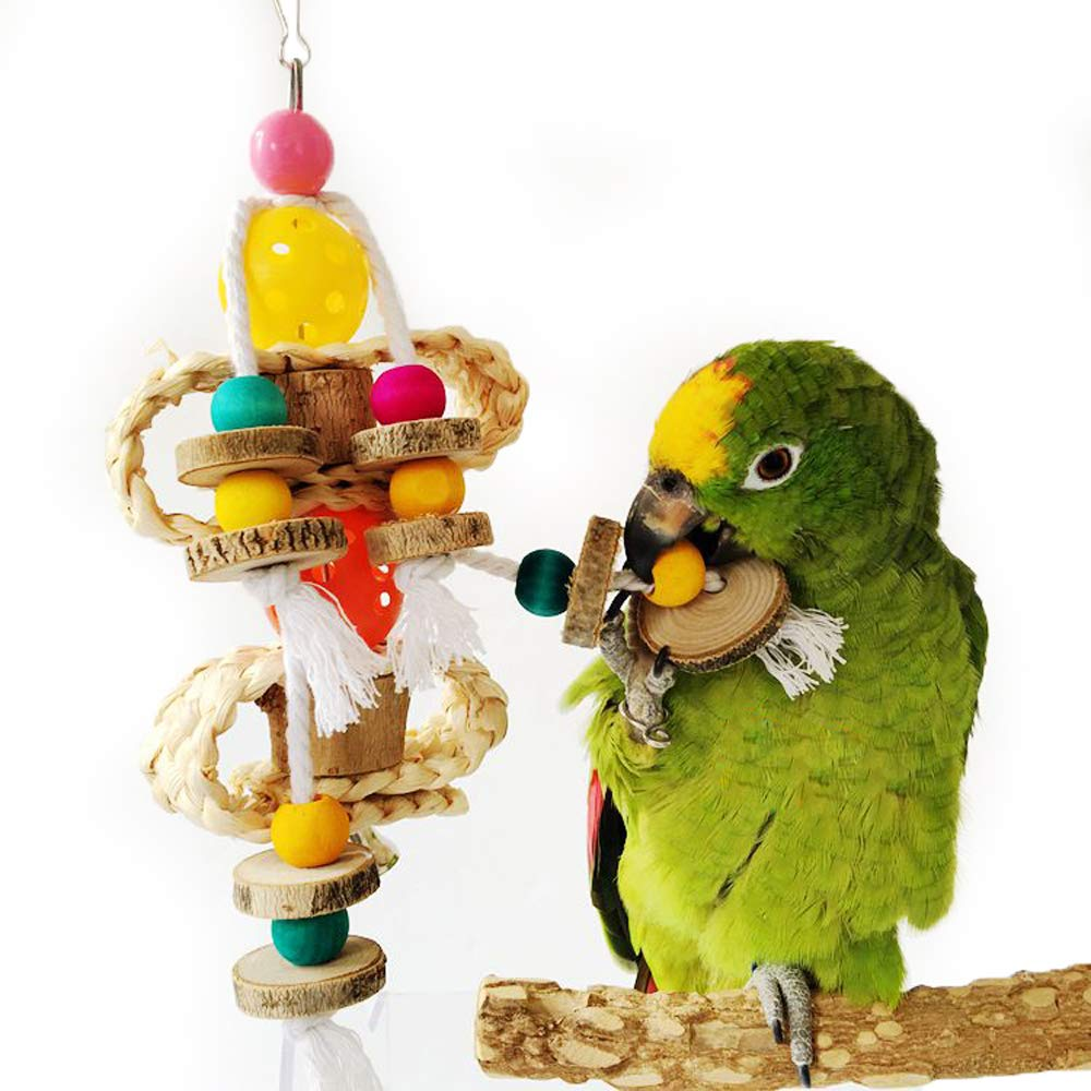 QBLEEV Wooden Bird Swings Toy with Hanging Bells for Cockatiels Parakeets, Cage Accessories Decorating Birdcage or Wood Parrot Perch Stand Play Gym for Small Medium Budgies Finches Conures