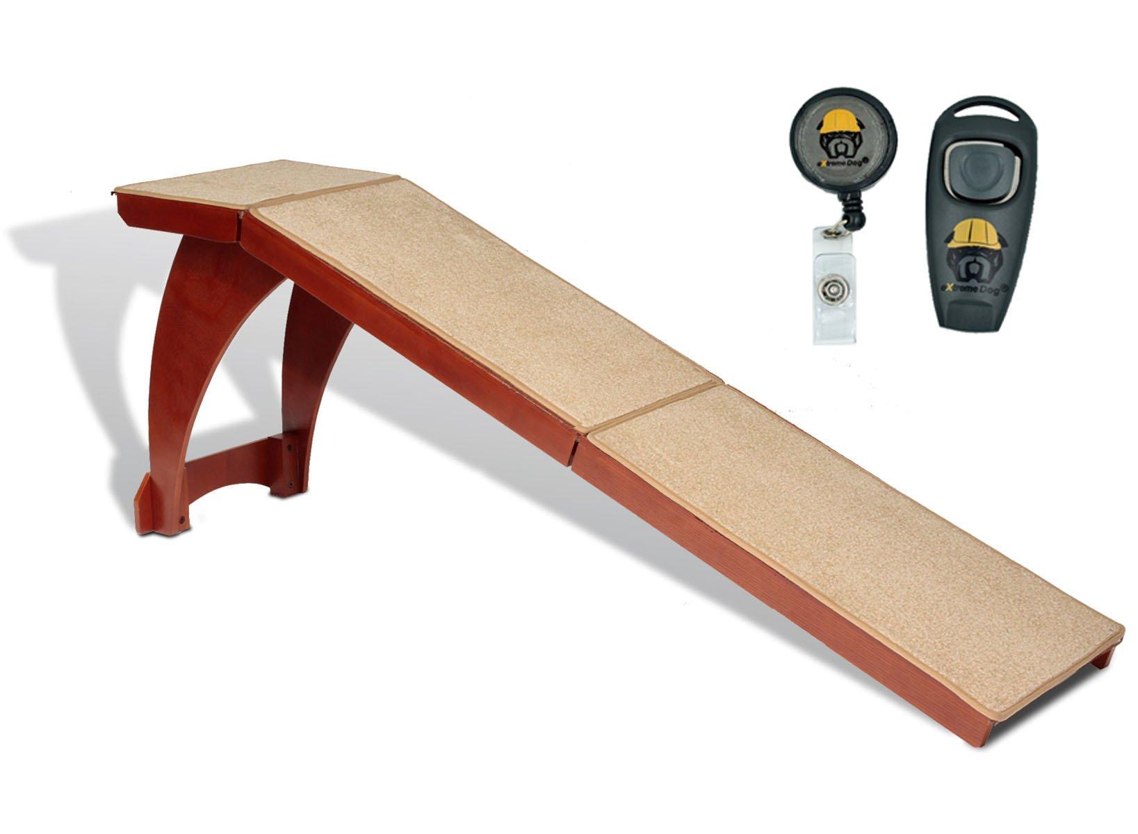 Solvit Wood Bedside Ramp with FREE Dog Training Clicker Bundle