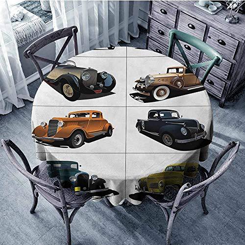 Rare Vintage Fabric - HeKua Cars,Round Tablecloth D 36
