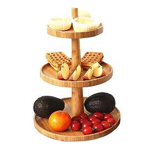3 Tier Cake Stand Bamboo Serving Tray Fruit Platter Elegant Wedding Cupcake Holder Wooden Cheese Dish Salad Plates