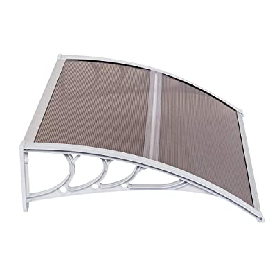 """Window Awning Modern Outdoor Canopy, Awning for Doors Patio Polycarbonate Sheet Cover, Household Application Door and Window Rain Cover Eaves (39.37"""" x 31.5"""" x 9.06"""", White Holder) : Garden & Outdoor"""