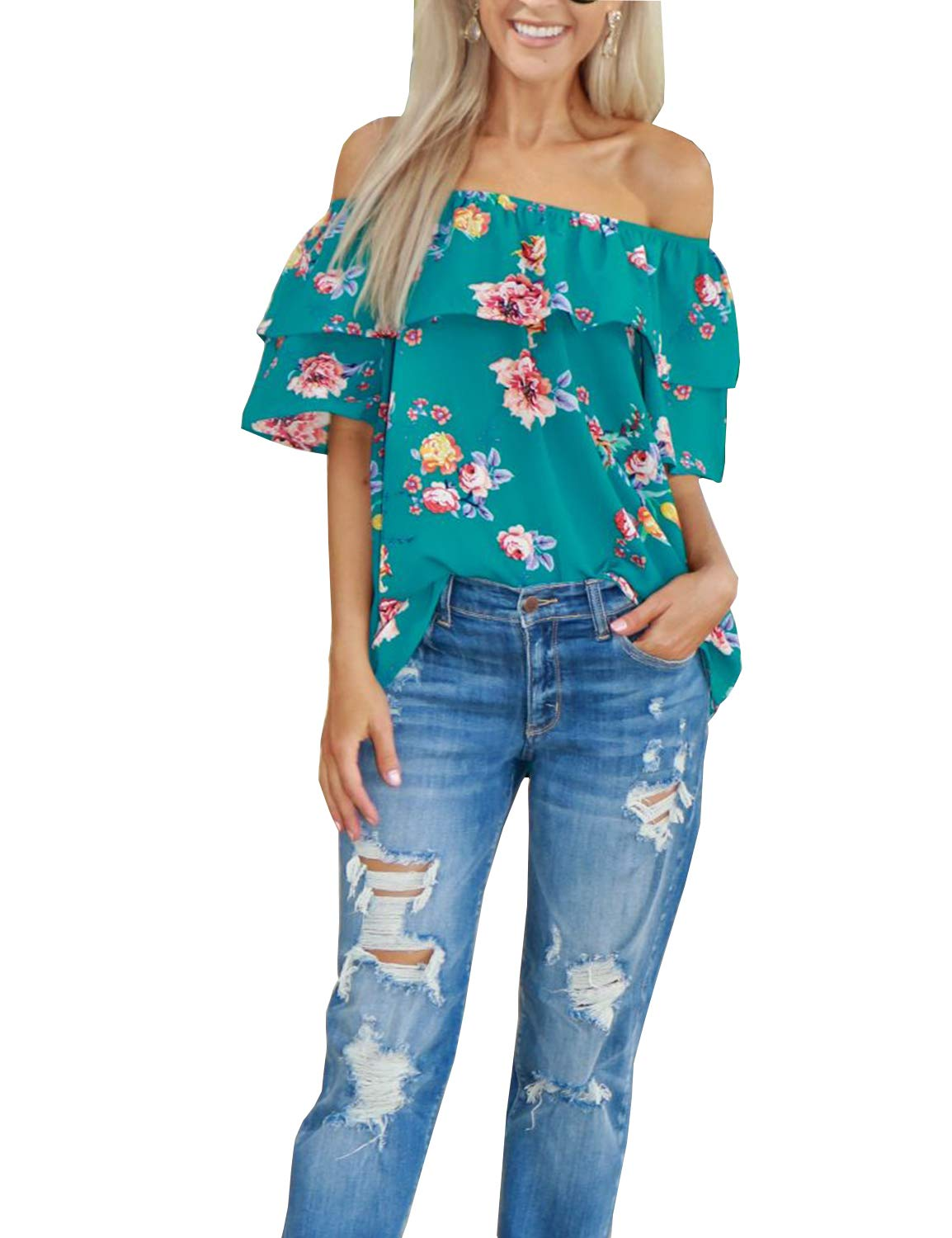 Blooming Jelly Women's Off Shoulder Short Sleeve Floral Printed Ruffle Top T Shirt Green