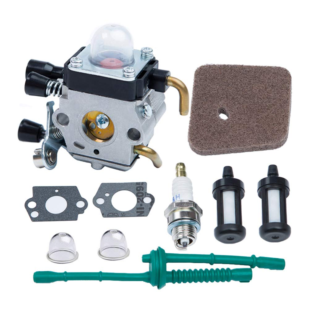 HOODELL C1Q-S186 Carburetor, for STIHL FS38 FS45 FS46 FS55 FS55R KM55 KM55R HL45 Weed Eater Brush Cutter, Premium String Hedge Trimmer Carb, with Rebuild Kit Spark Plug, Fuel Line, Air Flter by HOODELL