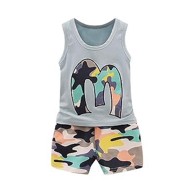 4e713483896 Goodlock Toddler Kids Fashion Clothes Set Baby Girls Boys Camouflage Vest  Tops T-Shirt Shorts