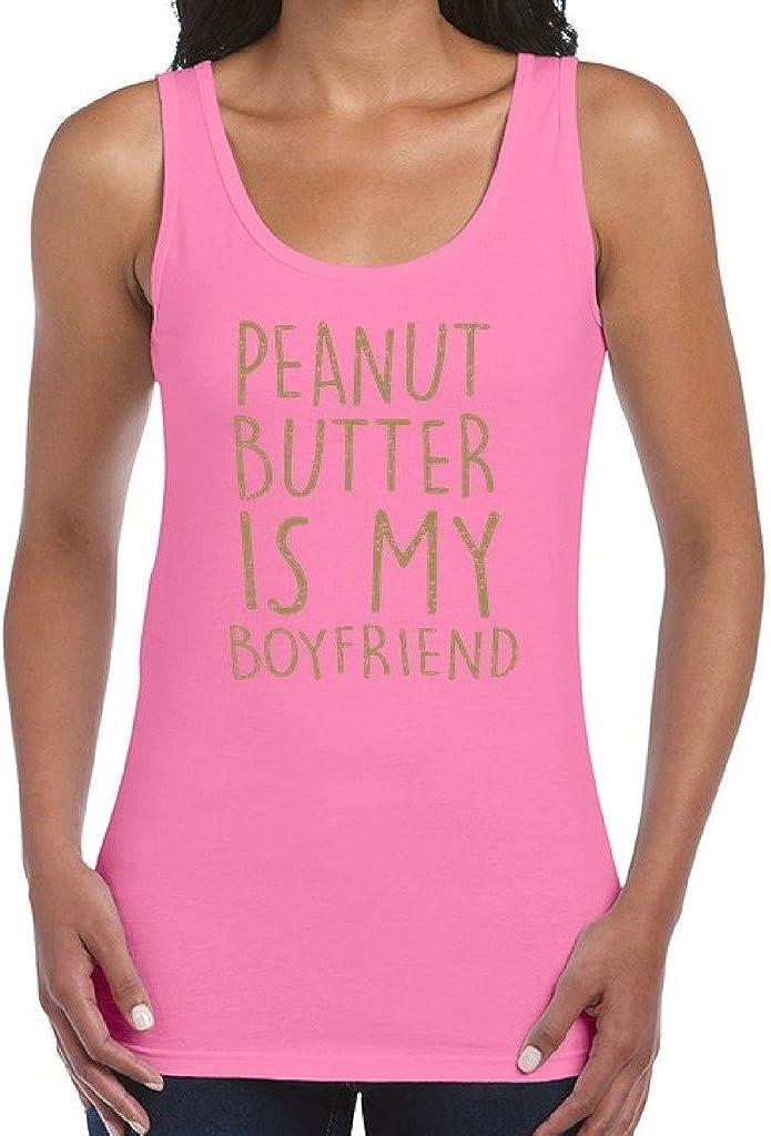 Awkwardstyles Women's Peanut Butter is My Boyfriend Tank Top Gold Workout Tank