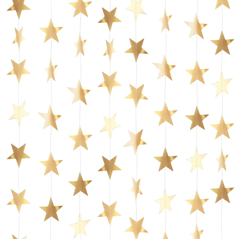Or Rose, Ensemble de A 130 Pieds Dor/é Paillettes Guirlande Suspendue d/'/Étoiles en Papier D/écoration pour Mariage Anniversaire F/ête de No/ël