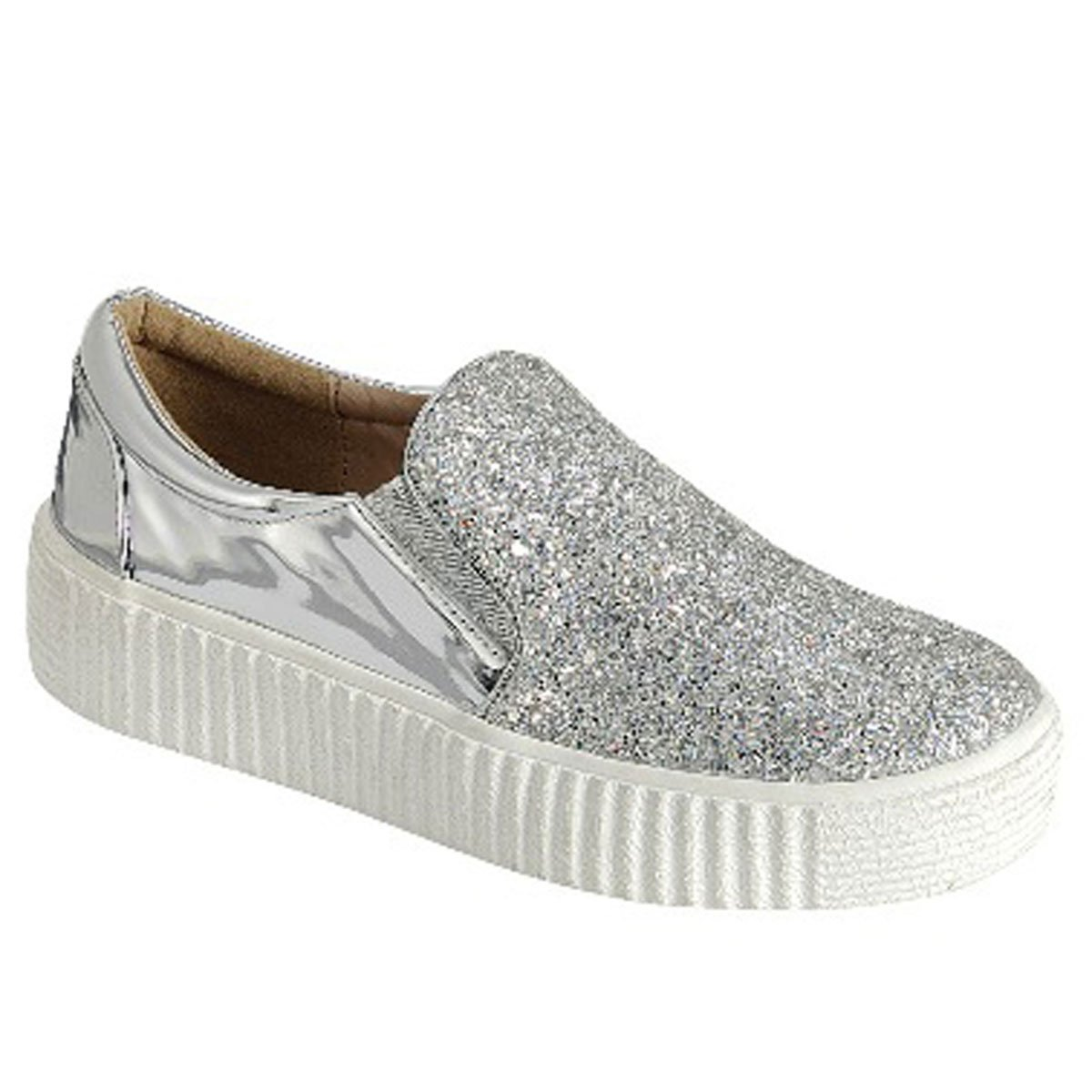 Best Clearance Sale Metallic Silver Bootie Sneaker Crepe Rubber Sole Round Toe Anti Skid New Modern Cheerleading Casual Flashy Bling Summer Sketcher Shoe Gift Idea for Women Teen Girl (Size 8, Silver)