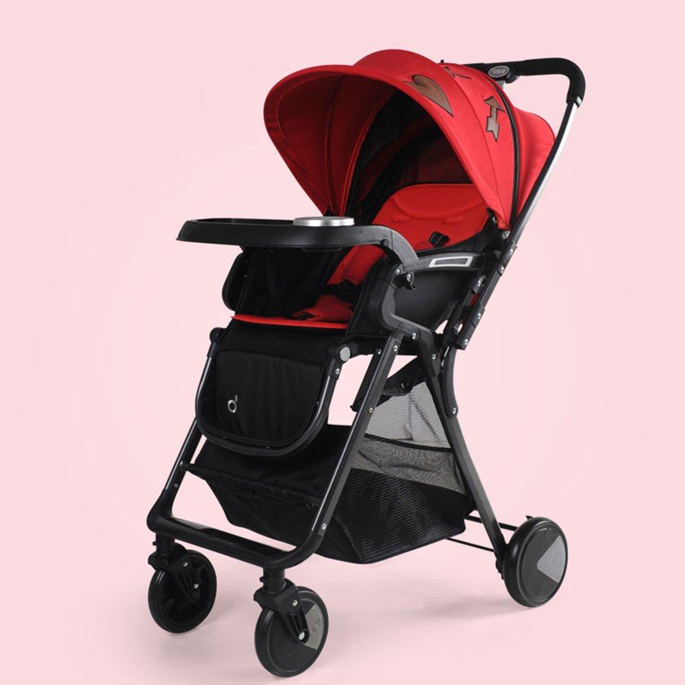HAIZHEN マウンテンバイク ベビーシッターベビーベビーカー新生児の子供用ベビーカー0-36ヶ月古いベビーカーと耐候カバー 新生児 B07C88GHM2 赤 赤