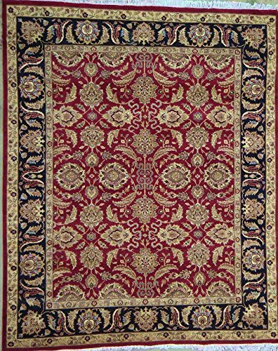 Pasargad Carpets 33551 Agra Collection Hand-Knotted Lamb's Wool Area Rug, 10' x 14', Red/Black - Agra Wool Area Rug