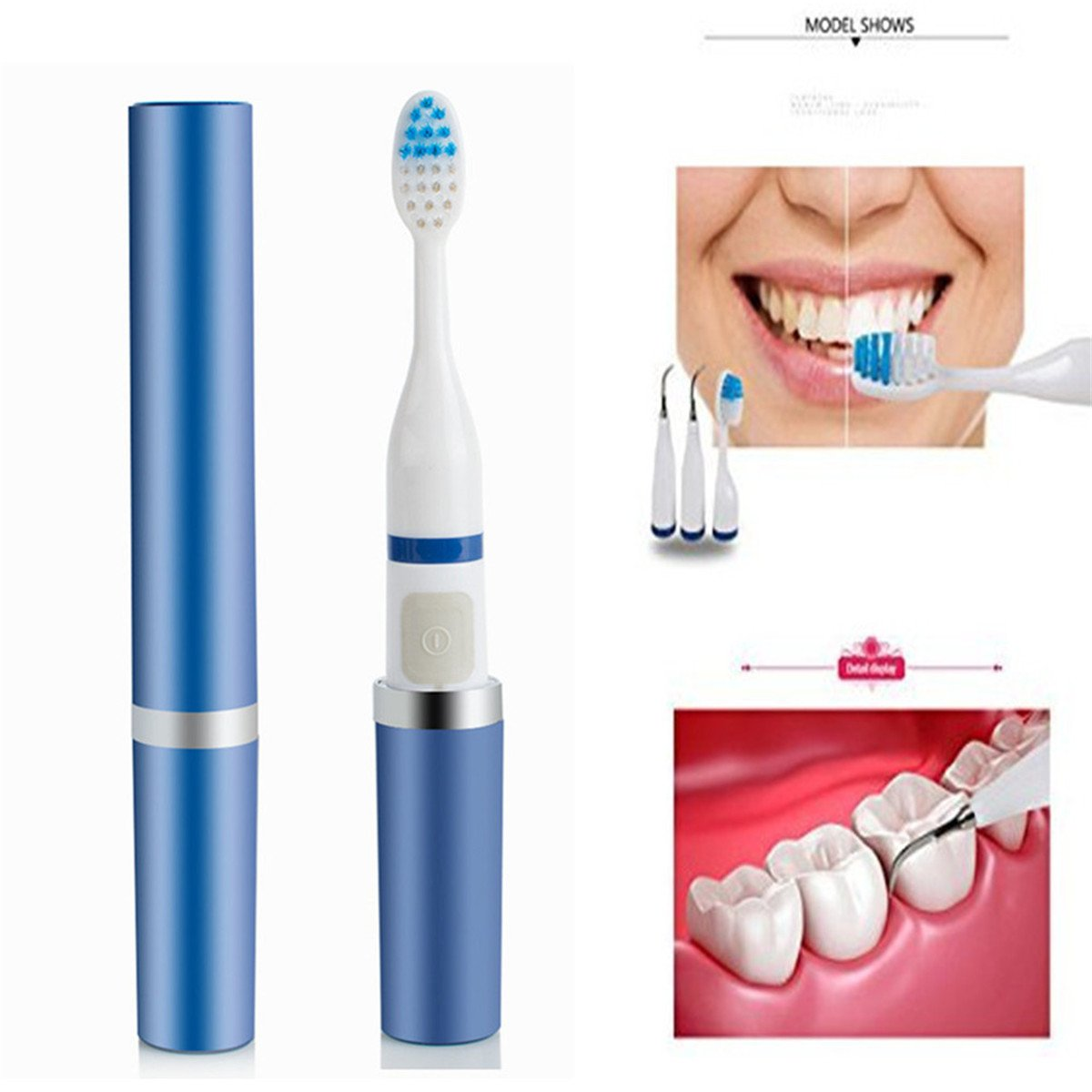 Teeth Polisher Teeth Cleaner,Fencia Teeth Tartar Plaque Stain Remover Dental Calculus Cleaner High Frequency Vibration Sonic Toothbrush 2 in 1 by Fencia (Image #3)