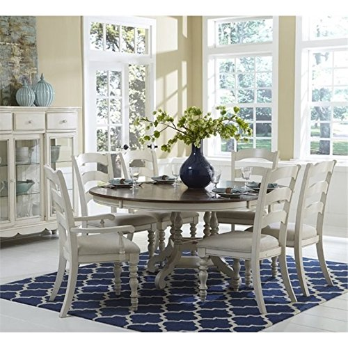 Bowery Hill 7 Piece Round Dining Set in Old White