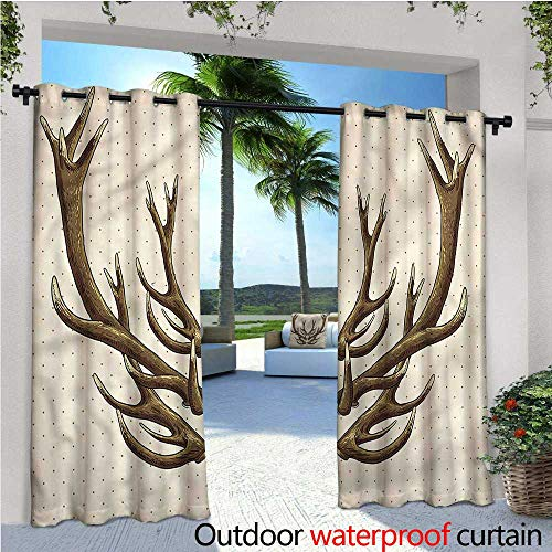 (warmfamily Antler Indoor/Outdoor Single Panel Print Window Curtain Hand Drawn Deer Polka Dots Silver Grommet Top Drape W120 x L84)
