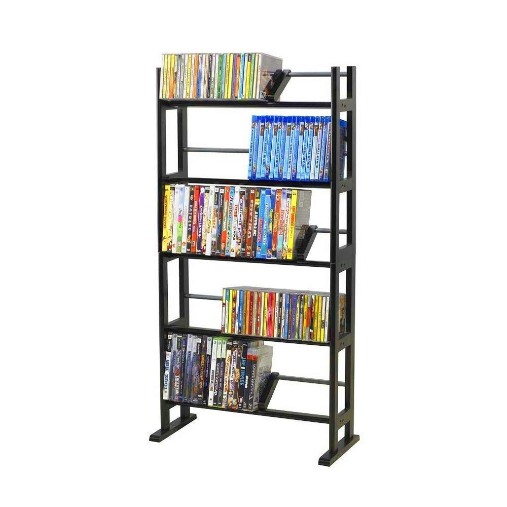 BS CD Storage Rack Tower Espresso Metal DVD Storage Slim Media 5-Shelf Organizer Stand Holder Adjustable Shelves Wide Base Stability Furniture Cabinet Multimedia Storage Media Rack & eBook BADAshop by BS