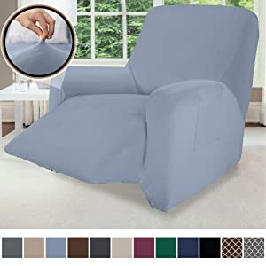 Gorilla Grip Original Velvet Fitted 1 Piece Recliner Slipcover, Stretch Up to 28 Inches, Soft Velvety Covers, Luxurious Chair Slip Cover, Spandex Recliners Furniture Protector, with Fasteners, Blue