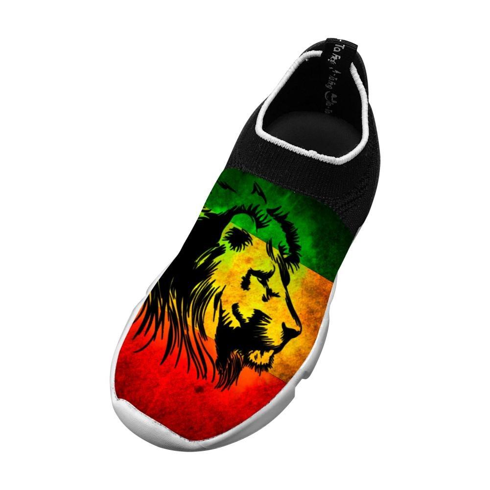 PoAn Kid Flyknit Shoe Jamaica Rasta Lions Fashion Sport 13 B(M) US Big kid