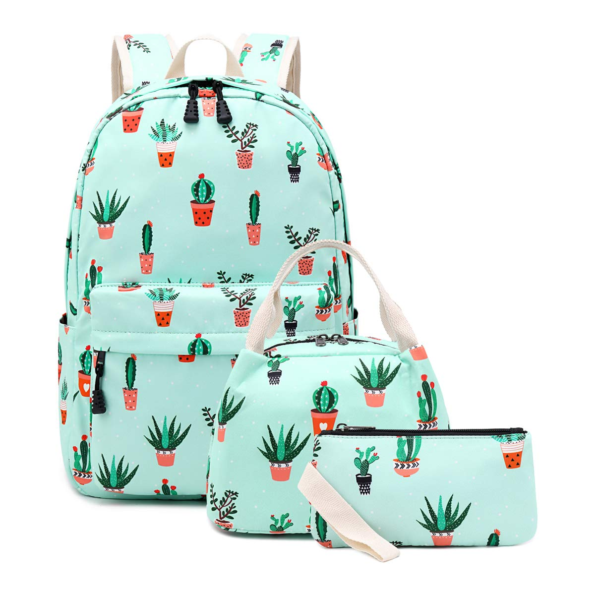 Girls School Backpack Teens Bookbag Kids Girls School Bags with Lunch Bag Pencil Case, 3 in 1 Backpack Sets (Light Blue/Cactus) by JIANYA
