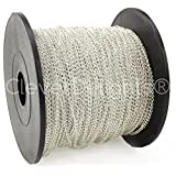 CleverDelights Curb Chain Spool - 2x3mm Link - Shiny Silver Color - 330 Feet - Bulk Chain Roll