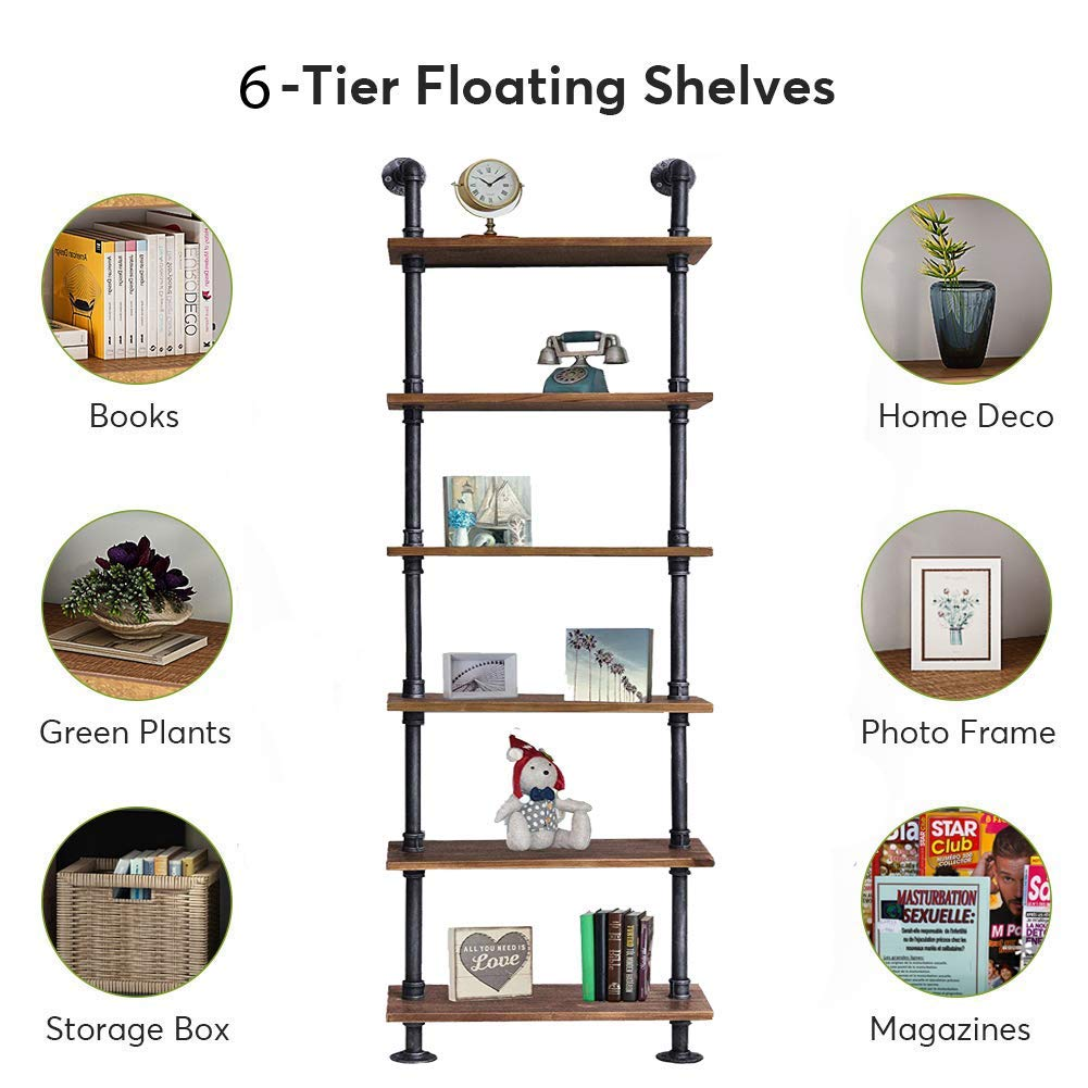 CDM product Diwhy Industrial Rustic Modern Wood Ladder Pipe Wall Shelf 6 Layer Pipe Design Bookshelf DIY Shelving big image
