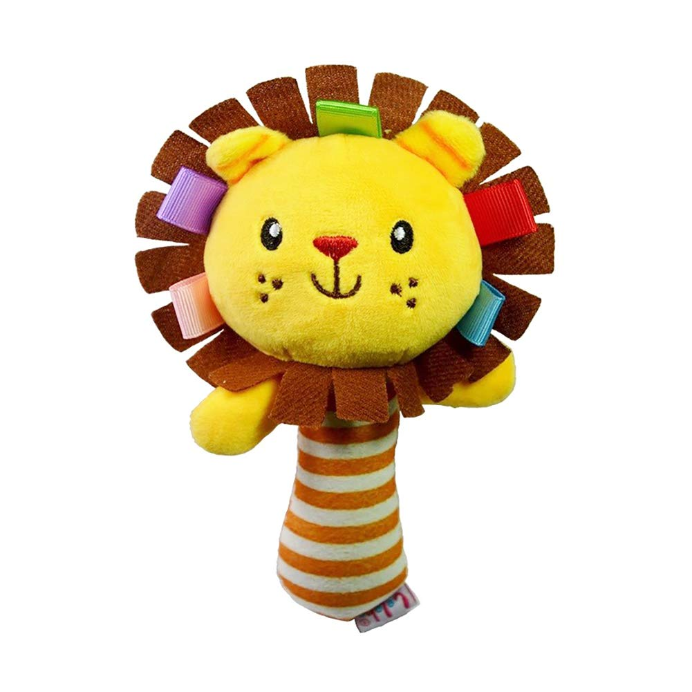 DierCosy Hand Bells Rattles Plush Toy Baby Kids Cartoon Lion Stuffed Toy Jingle Bell Learning Activity Puppet Hand Toy for Fun and Entertainment BabyProducts