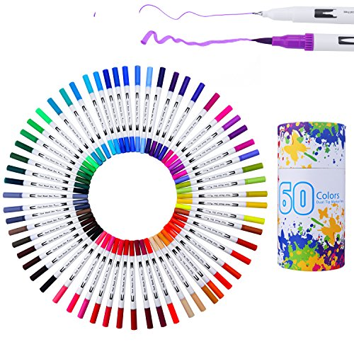 WOWENWO Dual Tip Brush Pens Art Markers 60 Assorted Colors,0.4mm Fine Liners Pen & Watercolor Brush Pens Set with Round Case for Painting Coloring,Drawing,Sketching,Lettering,Calligraphy (Fine Lettering)