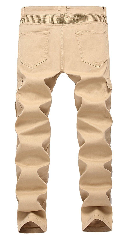 Toping Fine Fashion;Handsome Men's Biker Skinny Slim fit Stretch Denim Jeans KhakiW32