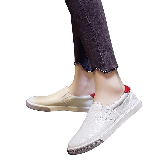 Zapato Deporte Mujer De PU Planas Zapatillas De Color Solido De Moda Zapatillas Sin Cordones Mocasines De Correr Para Aire Libre Casual Sneaker De Verano ...