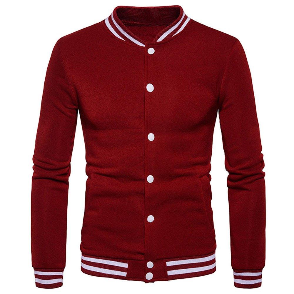 Men's Overcoat for New Mens Fashion Warm Winter Coat Slim Overcoat Clothes,Suit Jacket (L,Wine)