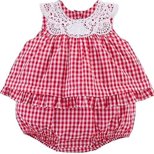 Ralph Lauren Baby Girls Gingham Cotton Bubble Shortall Red/White (24 ()