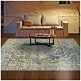 Superior Salford Collection Area Rug, 10mm Pile Height with Jute Backing, Fashionable and Affordable Rugs, Distressed Vintage Persian Rug Design - 8' x 10' Rug, Blue and Beige