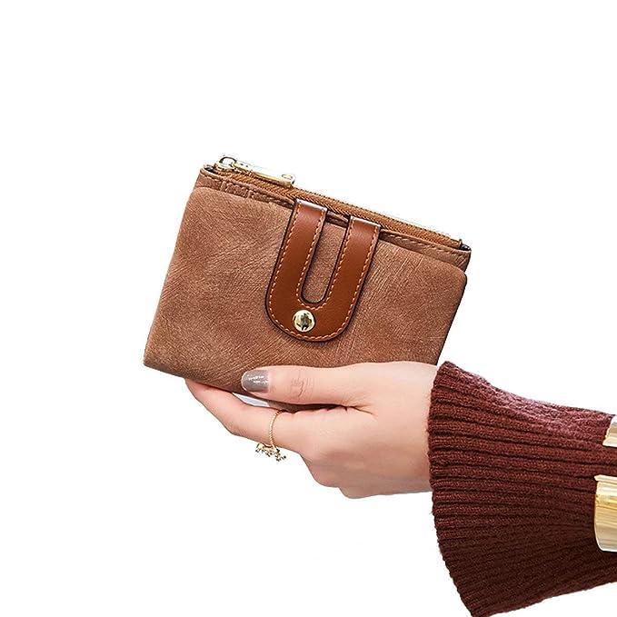 e493fd5f6aa6 Women's Small Wallet Bifold Soft Leather Thin Short Wallets RFID Blocking  Ladies Mini Purse with ID Window
