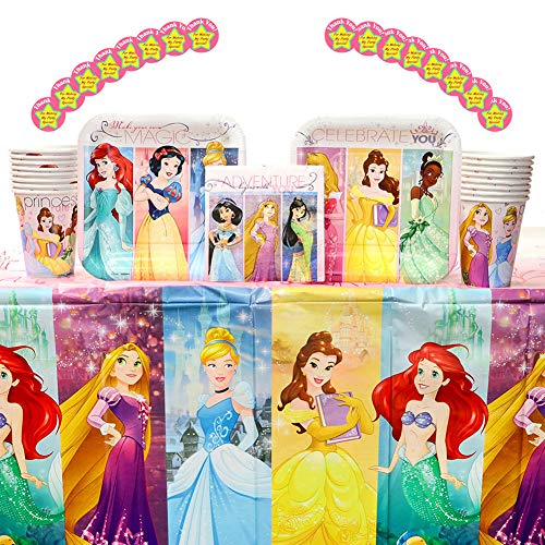 - Disney Princess Dream Big Party Supplies Pack for 16 Guests: Stickers, Dessert Plates, Beverage Napkins, Table Cover, and Cups