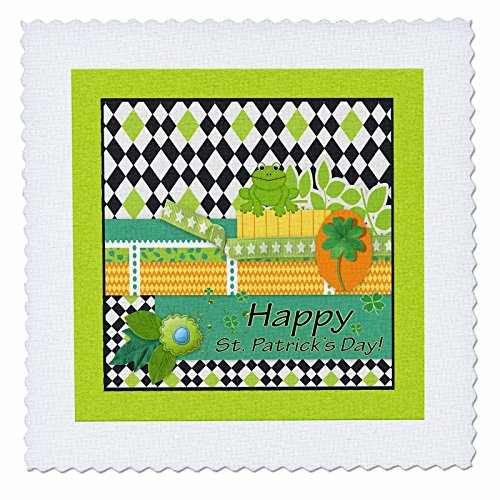 3dRose Beverly Turner St Patrick Day Design - Frog, Happy St Patrick Day, Diamond in Black Green White, Star Ribbon - 25x25 inch Quilt Square (qs_282041_10)
