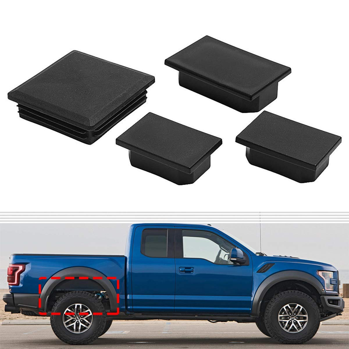 BASIKER 4X Square Frame Hole Plug Compatible with Ford F-150 Raptor for Rear Left /& Right Wheel Fits 2017 /& Later Models