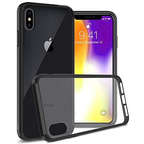 timeless design 55cbe a554b CoverON Hard Slim Fit ClearGuard Series for iPhone Xs Max Case, Clear with  Black Trim