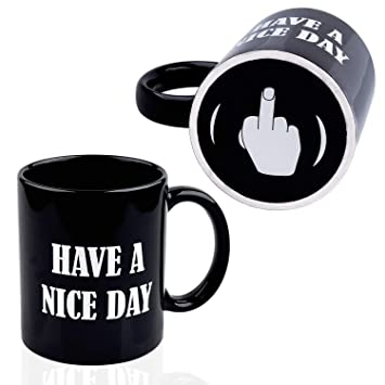 fe2db64e3e5 KYONNE Have A Nice Day Coffee Mug, Middle Finger Funny Cup, Gift for Men