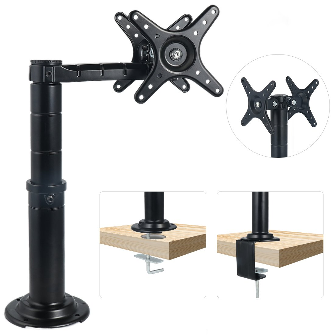 LOUTY Dual LCD Monitor Mount Stand Full Adjustable Fits Two Screens up to 27 inch.