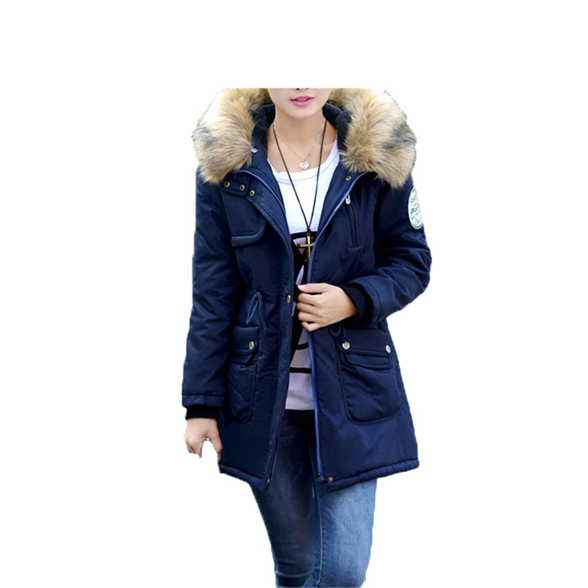 Amazon.com: LR New New Women Winter Coat Wadded Jacket Medium-Long Plus Size 4XL Parka Fur Collar Thickening Hood Abrigos Female Snow Wear Navy Blue XXXL: ...