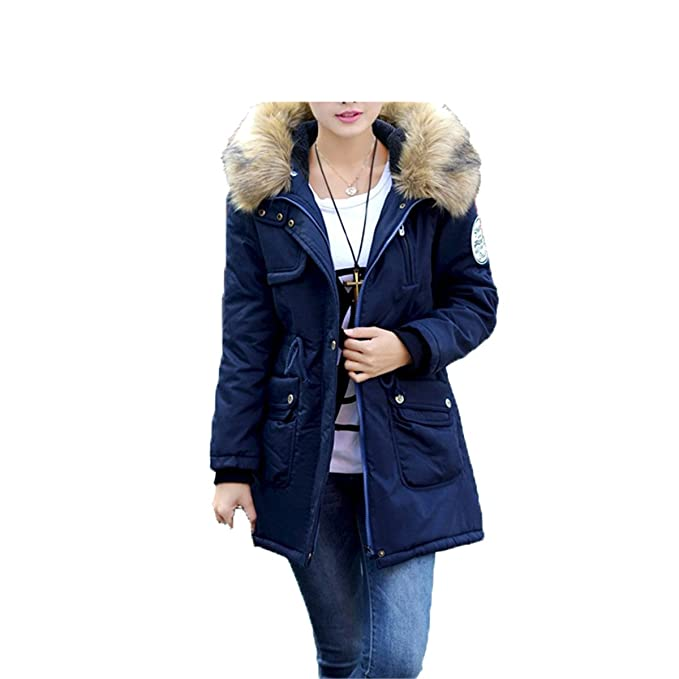 Amazon.com: LR New New Women Winter Coat Wadded Jacket Medium-Long Plus Size 4XL Parka Fur Collar Thickening Hood Abrigos Female Snow Wear Black XXXL: ...