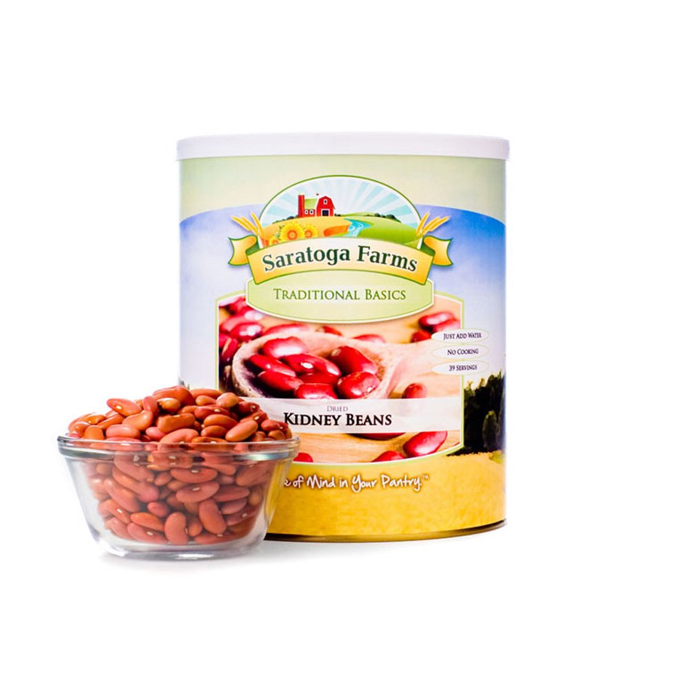 Saratoga Farms Dried Kidney Beans, #1 Emergency Food Storage, 60 Total Servings with a 10-20 Year Shelf-Life in #10 Can (Save More with 1,2,3,4, or 6 Pack)