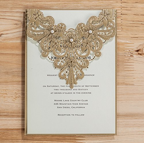 Wishmade 50x Elegant Gold Laser Cut Wedding Invitation Cards Kits with Pearl Lace Flowers Cardstock for Engagement Bridal Shower Birthday Baby Shower Quinceanera Invitations(set of 50pcs) by Wishmade