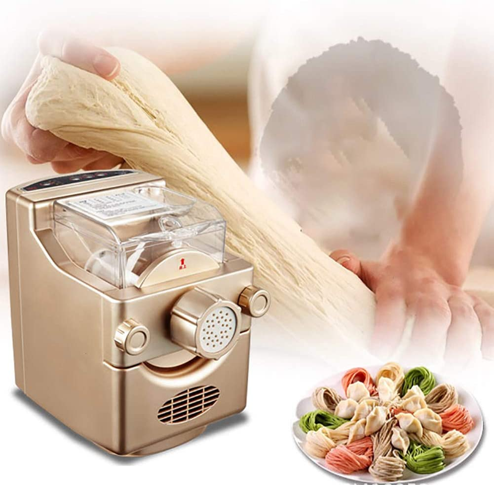 LYzpf Fully Automatic Pasta Machine Convenient Fresh Homemade Dumpling Wrapper Dough Mixing Home Small Vertical Electric Pressing Multifunction Noodle Maker with 9 Moulds