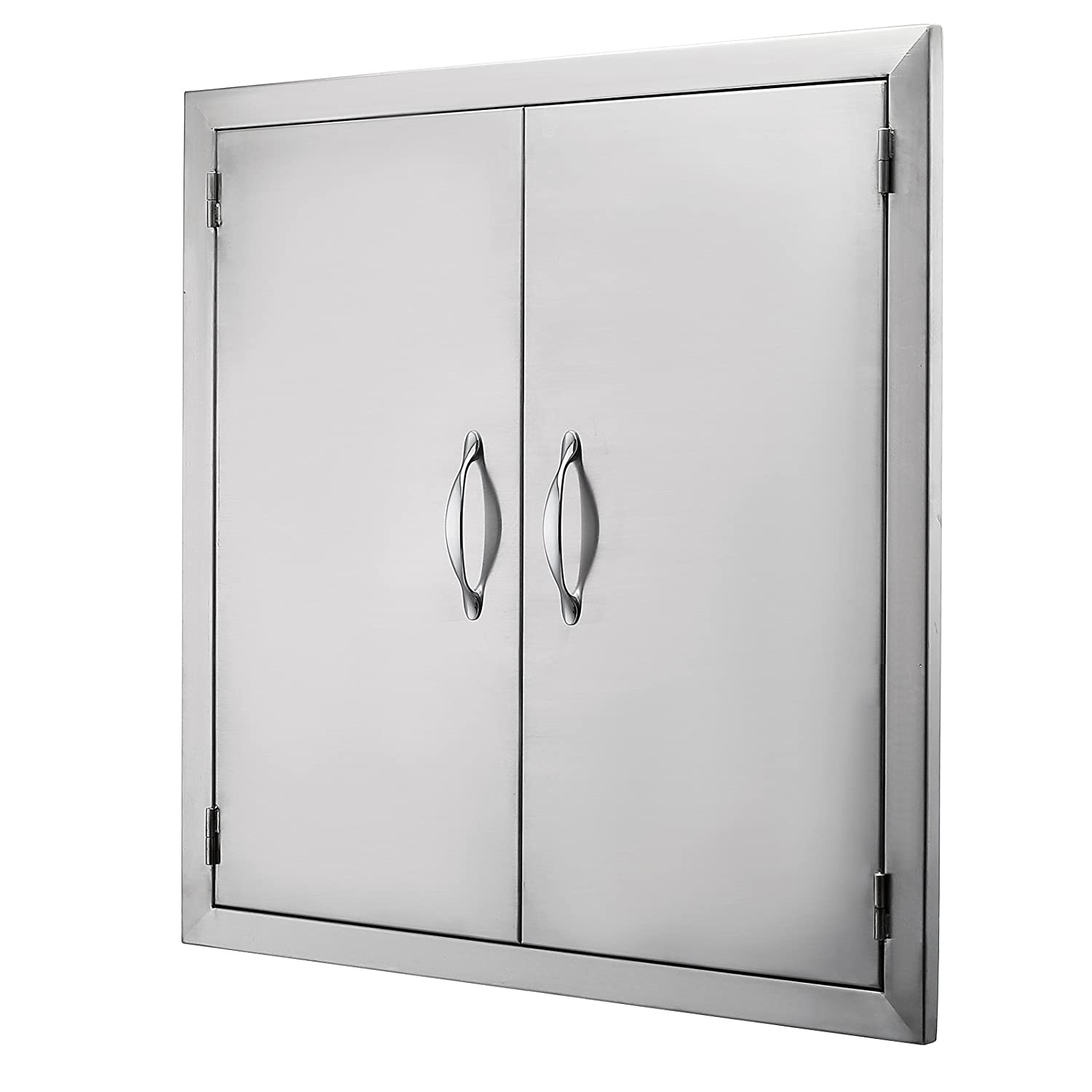 Mophorn Double Wall BBQ Access Door Cutout 24 Width x 24 Height BBQ Island Door w//Brushed Stainless Steel Perfect for Outdoor Kitchen or BBQ Island